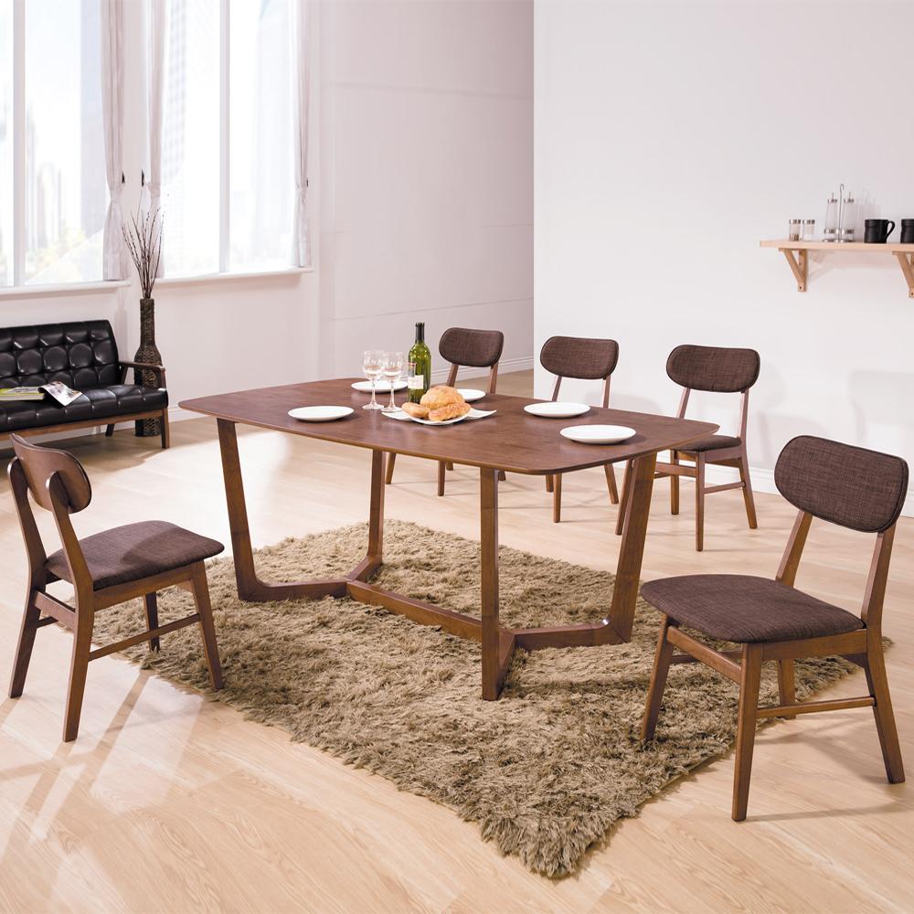 Boden-米爾6尺北歐風餐桌椅組(一桌四椅)-180x90x75cm