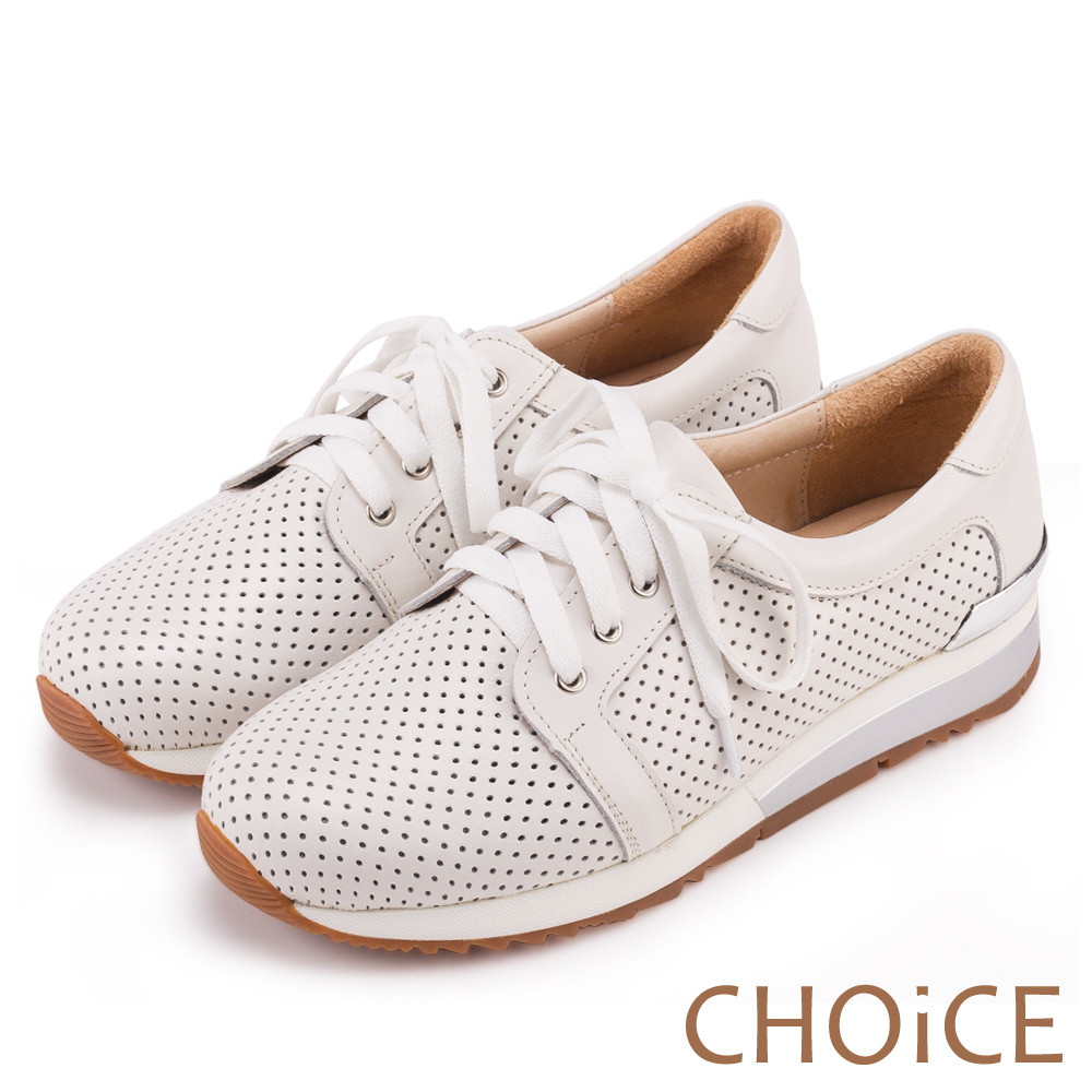 CHOiCE 中性休閒 牛皮綁帶洞洞平底休閒鞋-白色