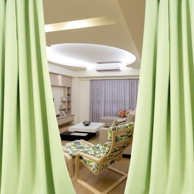 布安於室-簡約素色綠穿管式單層遮光窗簾-半腰窗(寬240X高180cm)