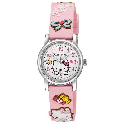 Hello Kitty 甜蜜蘋果造型腕錶-粉紅-KT015LWPP/27mm