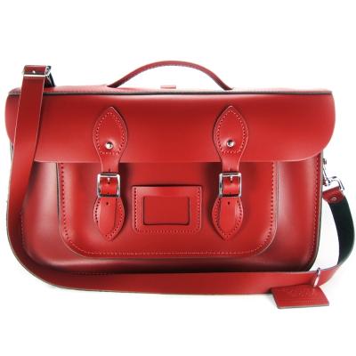 The Leather Satchel 英國手工牛皮劍橋包 肩背後背包 心機紅 15吋
