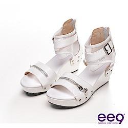 ee9 美人心機-個性拉鍊魚口羅馬楔型涼鞋-魅力白