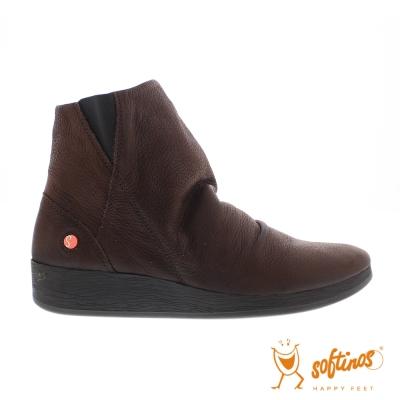 SOFTINOS (女) 極簡牛皮皺摺中筒靴-深咖啡