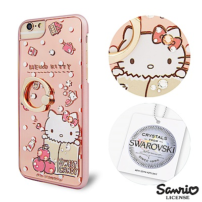 三麗鷗 Kitty iPhone8/7/6s 施華彩鑽鏡面指環扣手機殼-蘋果凱蒂