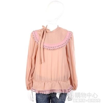 VALENTINO 粉橘色拼接滾邊蝴蝶結飾長袖上衣