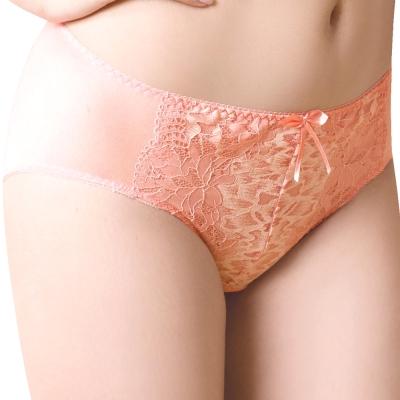 思薇爾 柔挺美學系列M-XXL蕾絲中腰三角內褲(霓粉橘)