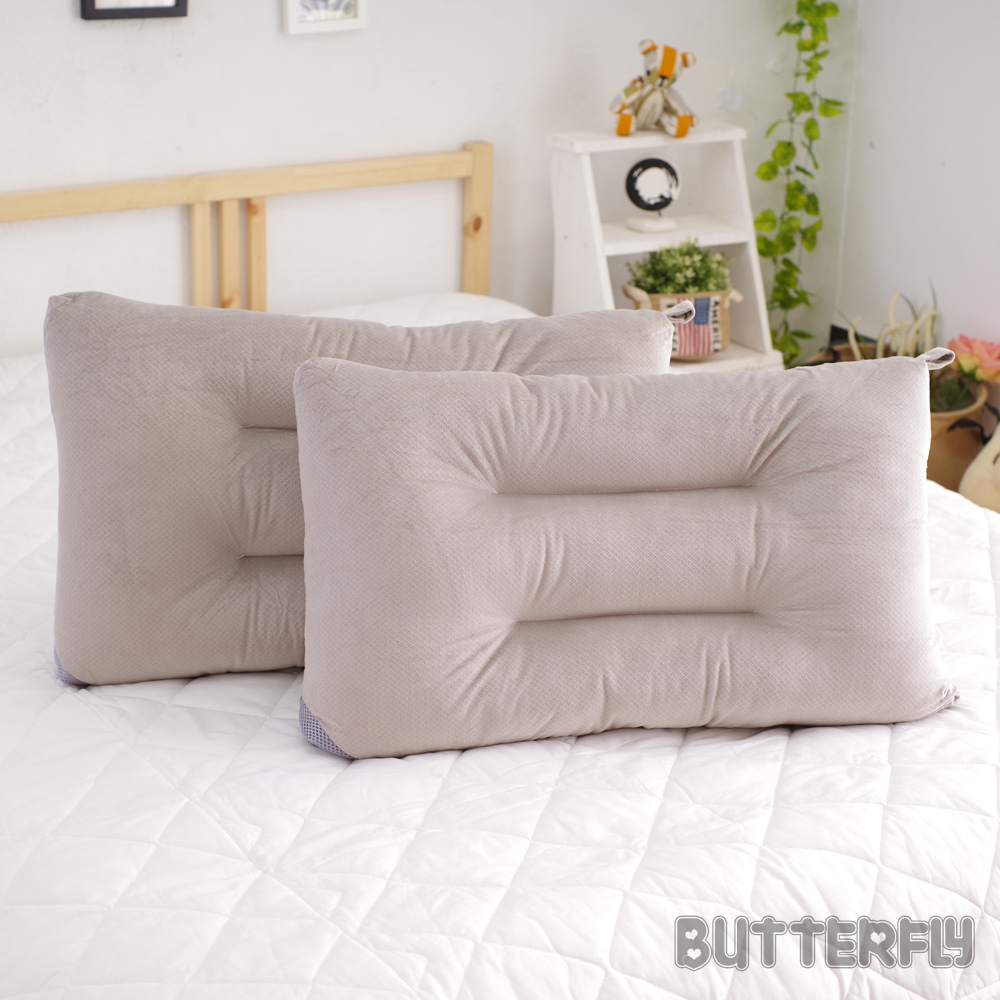 BUTTERFLY   可水洗彈性枕 灰 快乾滴水網布設計 台灣製造  二入組