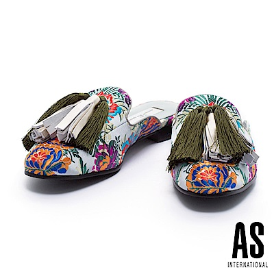 拖鞋 AS 復古魅力大流蘇點綴印花織錦布平底拖鞋-灰