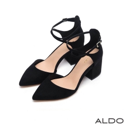 ALDO 原色金屬釦帶交叉鏤空粗跟鞋~尊爵黑色