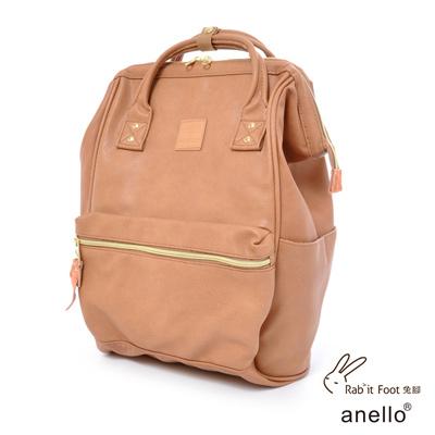 日本正版anello 輕質皮革口金後背包〈粉紅駝色〉L