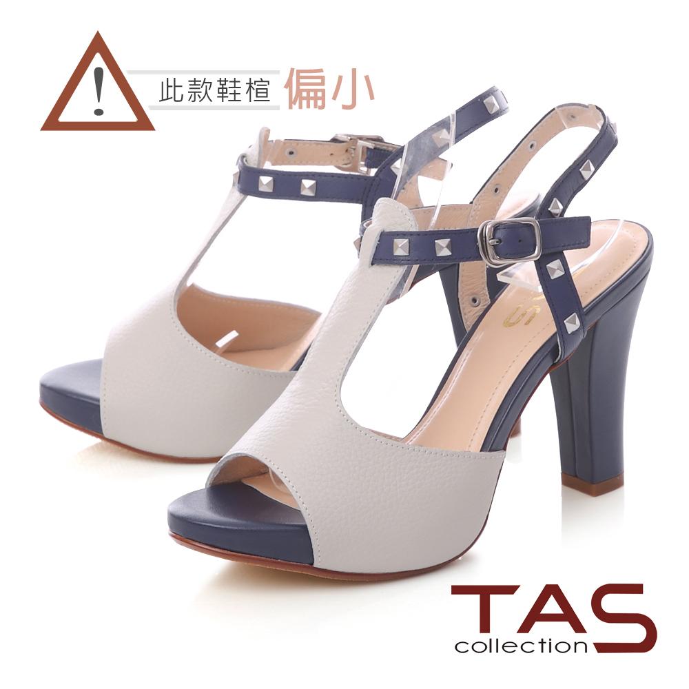 TAS 金屬鉚釘T字繫帶高跟涼鞋-靚藍白