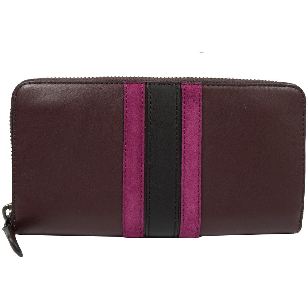 COACH 質感全皮革壓紋撞色條紋拉鍊長夾.暗紫紅COACH