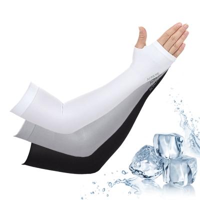 活力揚邑-指孔涼感萊卡袖套防曬UPF50抗UV臂套-3入組合(黑/灰/白各一組)