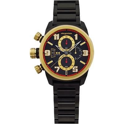 elegantsis Army ELJF48JKS 三眼計時腕錶-IP黑x金時標/43mm