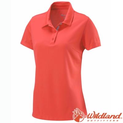 Wildland 荒野 W1621-13橘紅 女 疏水纖維排汗衣Polo衫