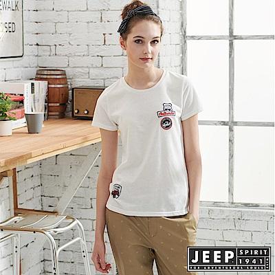 JEEP 女裝 純棉簡約短袖T恤-白色