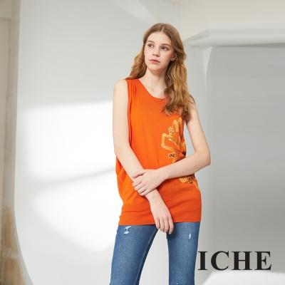 ICHE 衣哲 印花釘珠不規則長版針織造型上衣