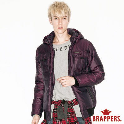 BRAPPERS 男款 男用雙色紗千鳥格羽絨外套-酒紅