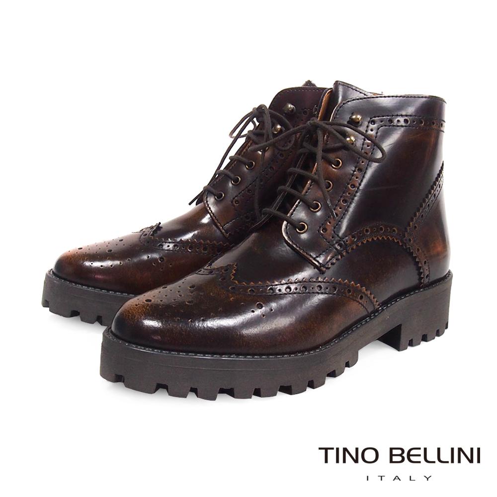 Tino Bellini 義大利復古況味厚底綁帶牛津靴_擦色棕