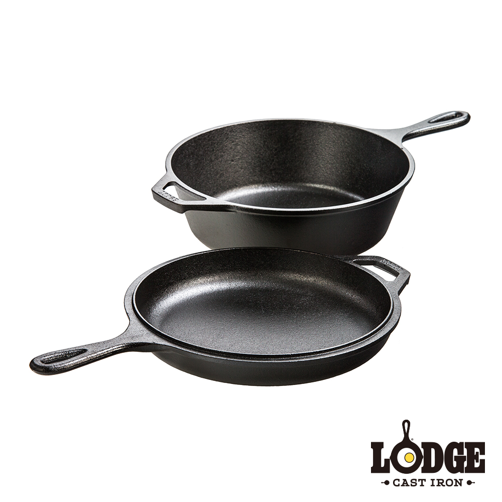 Lodge 鑄鐵多用途雙鍋組