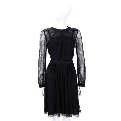 BLUGIRL 黑色蕾絲拼接長袖洋裝