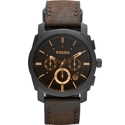 FOSSIL 王者風範三眼計時腕錶-咖啡/45mm