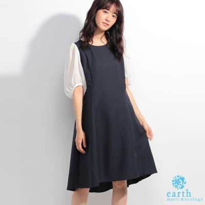 earth music 氣質拼接袖雪紡洋裝