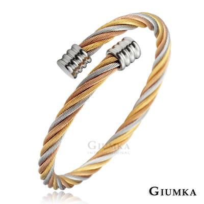 GIUMKA手環手鏈 三色造型鋼絲德國經鋼手環(金銀玫)