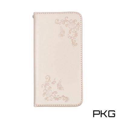 PKG Apple IPhone X側翻式皮套-精選系列-壓紋蝴蝶-玫瑰金