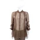 SCERVINO 紗質抓褶設計長袖襯衫(咖啡色)