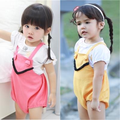 baby童衣 女童泡泡袖上衣吊帶連身短褲 2件組 60352