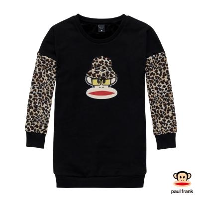 PAUL FRANK-潮流時尚拼接豹紋長版長袖上衣-黑色(女)