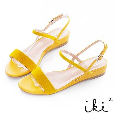 iki2 甜美一夏 麂皮百搭設計斜帶小坡跟鞋-黃