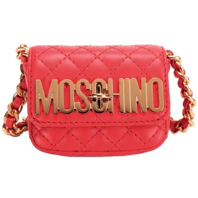 MOSCHINO-小羊皮旋釦迷你鍊帶包-紅色