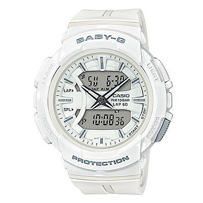 BABY-G日常穿搭慢跑運動透氣孔元素設計休閒錶(BGA-240BC-7)白色42.6mm