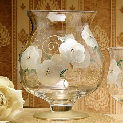 Madiggan玫瑰系列手工彩繪寬口短腳燭杯-大(粉紅)