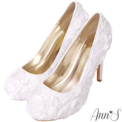 Ann'S Bridal怦然時刻純手工縫製亮片立體花瓣防水台厚底跟鞋-白