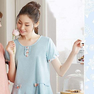 華歌爾睡衣 蘋果花印花居家服 M-L 圓領衣褲組 (藍)夏日透氣