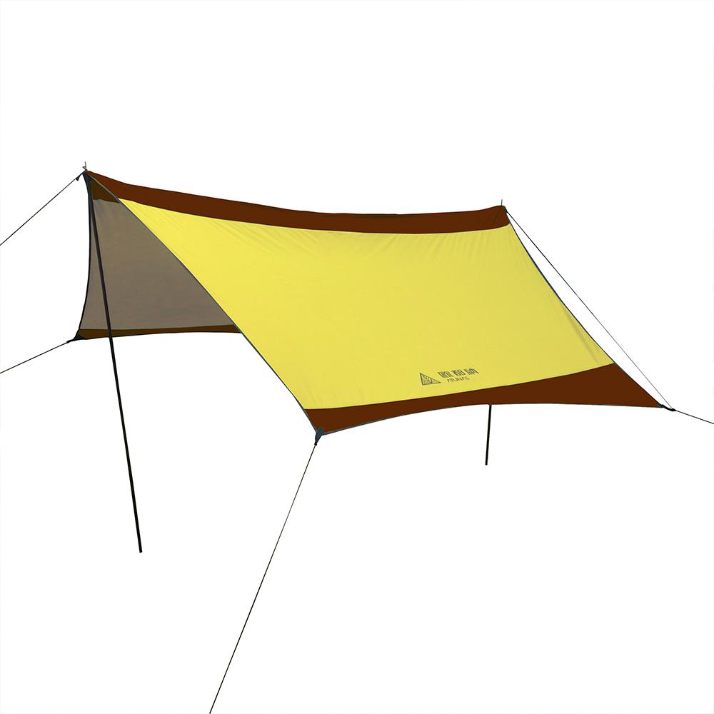 【ATUNAS 歐都納】戶外野趣露營雙腳天幕帳 A-TENT1610 黃褐/咖啡