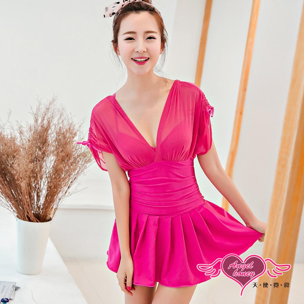 天使霓裳 雅緻風格 一件式加大尺碼連身泳衣(玫紅M~2L)