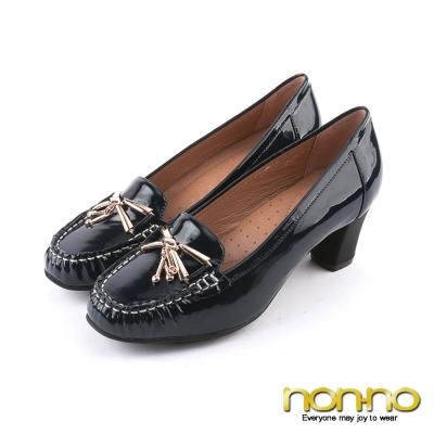 nonno-經典漆皮-金屬墜飾粗跟莫卡辛鞋-藍