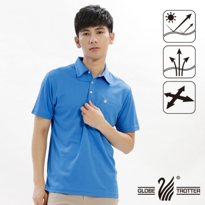 【遊遍天下】男款抗UV吸濕排汗機能POLO衫GS10014-1藍色