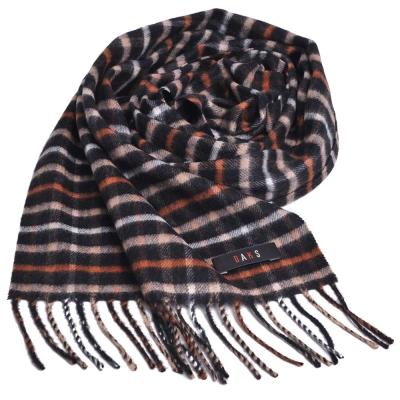 DAKS 日本製經典格紋100%喀什米爾羊毛圍巾(黑格)