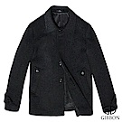 GIBBON 歐風雕花圓釦羊毛大衣‧斜紋灰M-3L