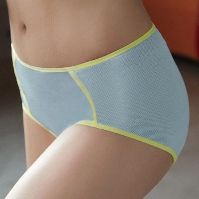 推Audrey-就是愛運動 涼感款中腰平口褲(藍灰色)
