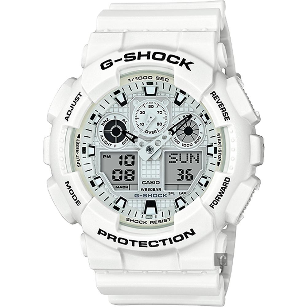 CASIO卡西歐G-SHOCK GA-100人氣雙顯手錶-白