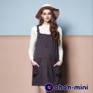ohoh-mini 孕婦裝 經典菱格孕婦吊帶連身裙-2色