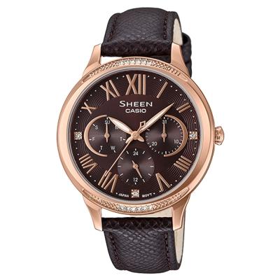 SHEEN優雅迷人風采羅馬數字時刻皮帶腕錶(SHE-3058PGL-5)咖啡面X黑36mm