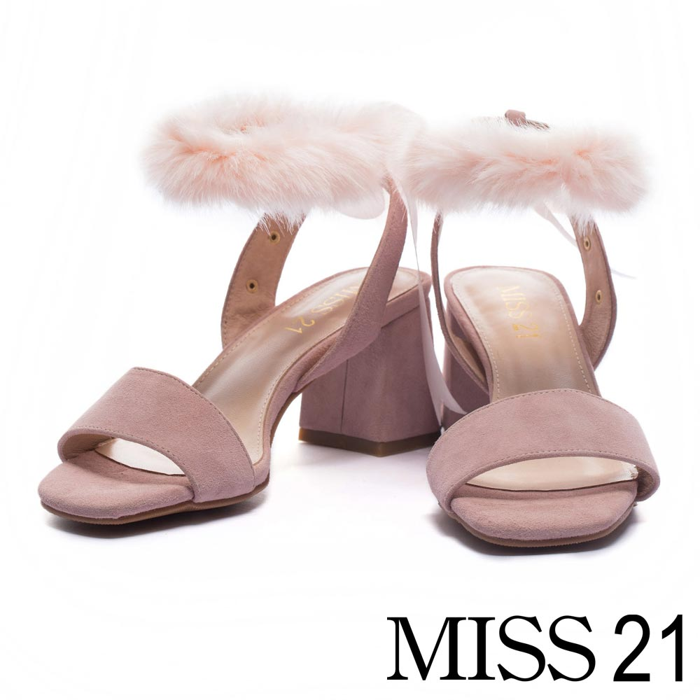 涼鞋 MISS 21 優雅甜心一字繫帶麂皮高跟涼鞋-粉