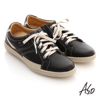 A.S.O輕量勁步 流線拼色奈米休閒平底鞋 黑